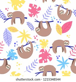 Vector seamless pattern with cute sloth  and colorful tropical leaves