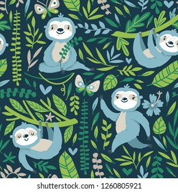 Vector seamless pattern with cute sloths and floral element. Bright childish texture with funny animals, palm leaves, flowers. Print for kids textile.