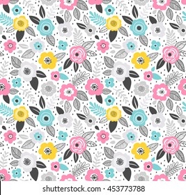 Vector seamless pattern. Cute pattern in small flower. Small blue, pink and yellow flowers. White background. Ditsy modern floral background. The elegant the template for fashion prints.