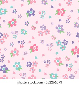 Vector seamless pattern. Cute pattern in small flower. Floral background.