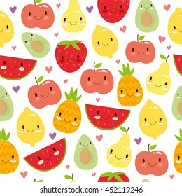 vector seamless pattern with cute smiling fruit. apple, pineapple, lemon, avocado, strawberry, watermelon. use for the children's menu, packaging, textiles, fabrics, background