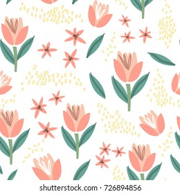 Vector seamless pattern of cute stylish tulips.