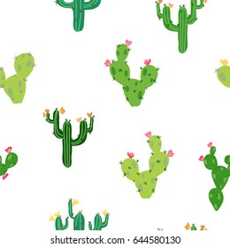 Vector seamless pattern with cute tropical cactus with flowers inspired by exotic tropical garden succulents. Cute green nature backdrop perfect for baby textile or wrapping paper