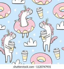 Vector seamless pattern with cute unicorn, donuts and coffee