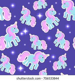 Vector seamless pattern with cute unicorns in the night sky. Magic goodnight endless texture. Sparkling stars. Dark background