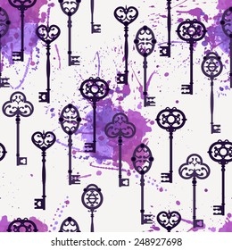 Vector seamless pattern with cute vintage keys and watercolor splashes