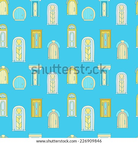 Vector seamless pattern cute vintage hand drawn doors