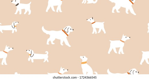 Vector seamless pattern with cute white dogs isolated on beige: dachshund, jack russell, terrier, doberman. Animal pattern, dogs pattern, perfect for kids textile, nursery decor, fabric