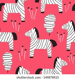 Vector seamless pattern with cute zebras