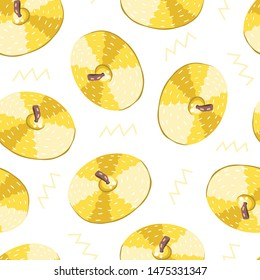 Vector seamless pattern with cymbals. Сlassical percussion musical instruments. Golden colors. Isolated objects.  White background.