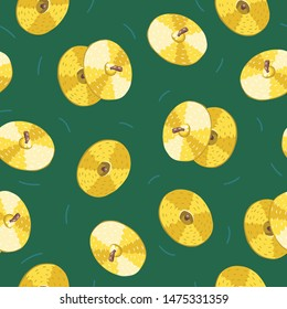 Vector seamless pattern with cymbals. Сlassical percussion musical instruments. Golden colors. Isolated objects.  Green background.