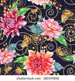 Vector seamless pattern with dahlia. Baroque style. Red, pink watercolor flowers, leaves and butterflies on dark blue background and abstract swirls.