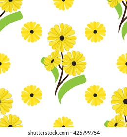 Vector seamless pattern. Daisy or gardenia flowers, branch and leaves.  Simple line. Perfect for web, print, texture, fabric, background abstract design. Yellow, green color