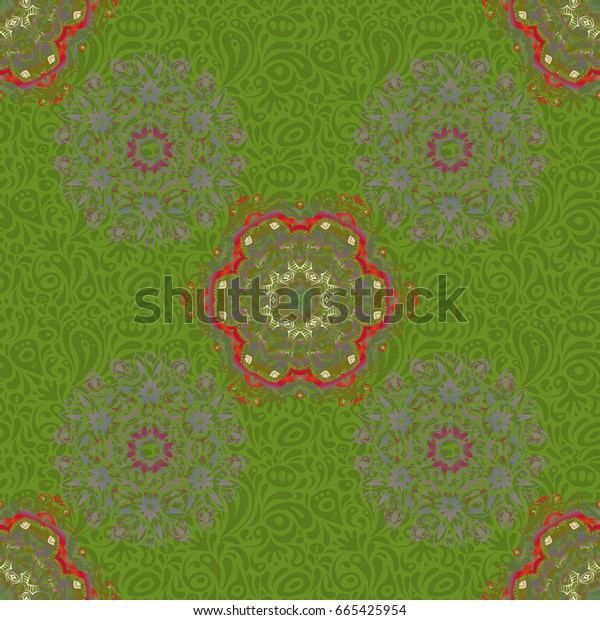 Vector seamless pattern. Seamless damask pattern, gray and red classic wallpaper. Ornamental border.