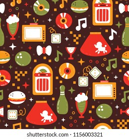 Vector seamless pattern with dancer profession with object sock hop from 1950 year