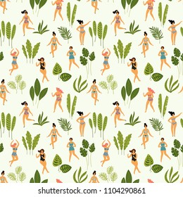 Vector seamless pattern with dancing ladyes in swimsuits and tropical palm leaves. Design element for summer party concept and other use.