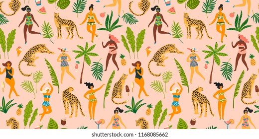 Vector seamless pattern with dancing ladyes in swimsuits and leopards. Design element for summer party concept and other use.