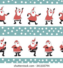 vector seamless pattern with dancing Santa