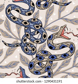 vector seamless pattern with dangerous snakes and abstract leaves