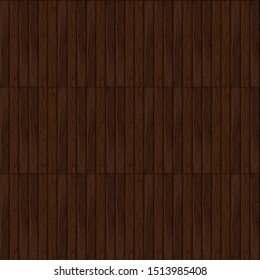Vector Seamless Pattern, Dark Brown Wooden Background Template, Colorful Illustration.
