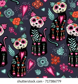 Vector seamless pattern for Day of the Dead and Halloween. Cats and colorful decorative flowers.