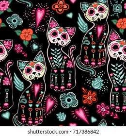 Vector seamless pattern for Day of the Dead and Halloween with Cats and colorful decorative flowers on a black background.