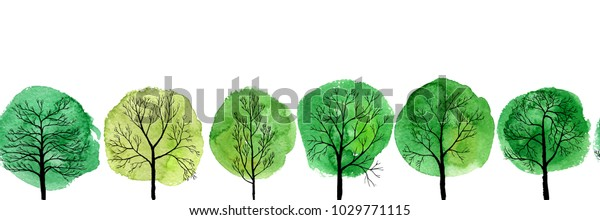 vector seamless pattern with deciduous trees and green watercolor foliage, hand drawn natural border