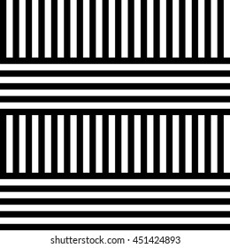 Vector seamless pattern. Decorative element, design template with black and white striped straight lines. Background, texture with optical illusion effect. Alternating Illusive rows in op art style.