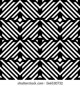 Vector seamless pattern. Decorative element, design template with diagonal striped black and white lines. Background, texture with mechanical geometry. Structural industrial tiles for lattice, grille
