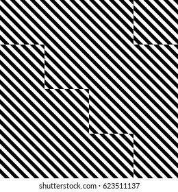 Vector seamless pattern. Decorative element, design template with striped black white diagonal inclined lines. Background, texture by tetris composition. Dynamic tiles for card, app, web cover.