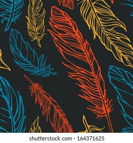 Vector seamless pattern with decorative feathers. Template for your design and decoration