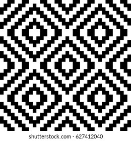 Vector seamless pattern. Decorative ornament, traditional tracery with black white diagonal zigzag line. Background, op art texture with jacquard knitting. Fabric, textile, swatch, cloth, tapestry.