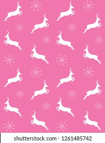 Vector seamless pattern of deer silhouette with snow flakes isolated on pink