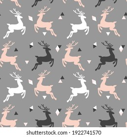Vector seamless pattern with deer and triangles. Background for wallpaper, packagings, postcard, birthday, textiles, paper, holiday.