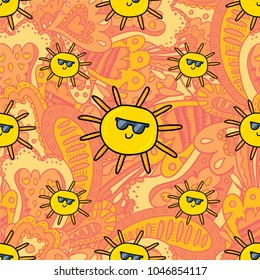 Vector seamless pattern design background with sunny summer sun cartoon style illustration. Textile fashion wallpaper print design