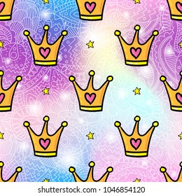 Vector seamless pattern design background with trendy hipster gold crown cartoon style illustration. Textile fashion wallpaper print design with lgbt symbol