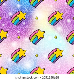 Vector seamless pattern design background with trendy hipster color rainbow star cartoon style illustration. Textile fashion wallpaper print design with lgbt symbol