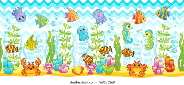 vector seamless pattern design. Bright underwater background with funny tropical fishes, crab, nemo fishes and seahorses