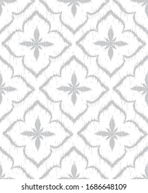 Vector seamless pattern design with ikat ornaments, repeat background for web and print