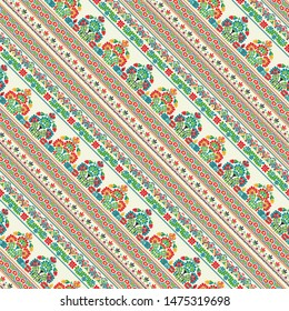 Vector seamless pattern design inspired by traditional Hungarian embroider