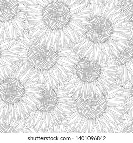 Vector seamless pattern design with sunflowers in black and white