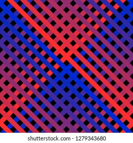 Vector seamless pattern with diagonal cross lines in bright neon colors. Retro 1980-1990's fashion style background. Trendy colorful stripes texture. Abstract geometric design. Red and blue gradient