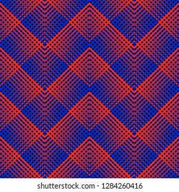 Vector seamless pattern with diagonal cross lines, rhombuses, squares. Retro 1980-1990's fashion style background. Abstract geometric design with colorful stripes. Trendy neon blue and red gradient