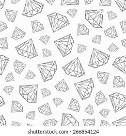 vector seamless pattern with diamonds, endless texture, black and white design