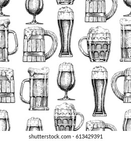 Vector seamless pattern with different beer glasses and mugs. illustration background in ink hand drawn style.