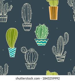Vektornahtloses Muster mit verschiedenen Kaktusformen. Helle, wiederholte Textur mit grünem Kakteen. Natürlicher handgezeichneter Hintergrund mit Wüstenpflanzen.