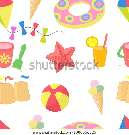 6316c7b16523e Vector seamless pattern with a lot of different child summer sea vacation  items  sand bucket