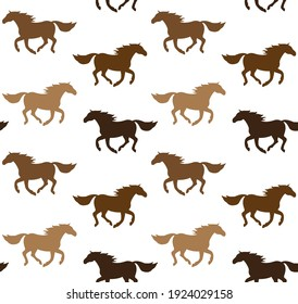 Vector seamless pattern of different color flat horse silhouette isolated on white background
