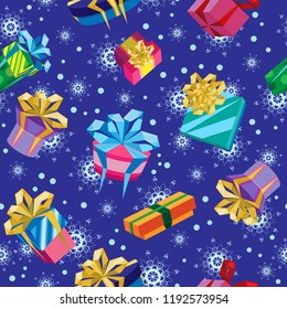 Vector seamless pattern. Different gift boxes with bows. Blue background with snowflakes and snow