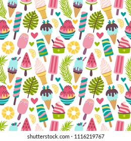 Vector seamless pattern with different ice cream, popsicles, fruit ice. Bright summertime repeated texture with sweet food. Summer background with desserts and palm leaves.